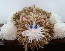 Brown Tabby Yarn Cat Collectible, Dark Brown Tabby Yarn Kitty with Blue Cat Eyes, Handmade Yarn Pom Pom Cat, Stuffed Animal Alternative
