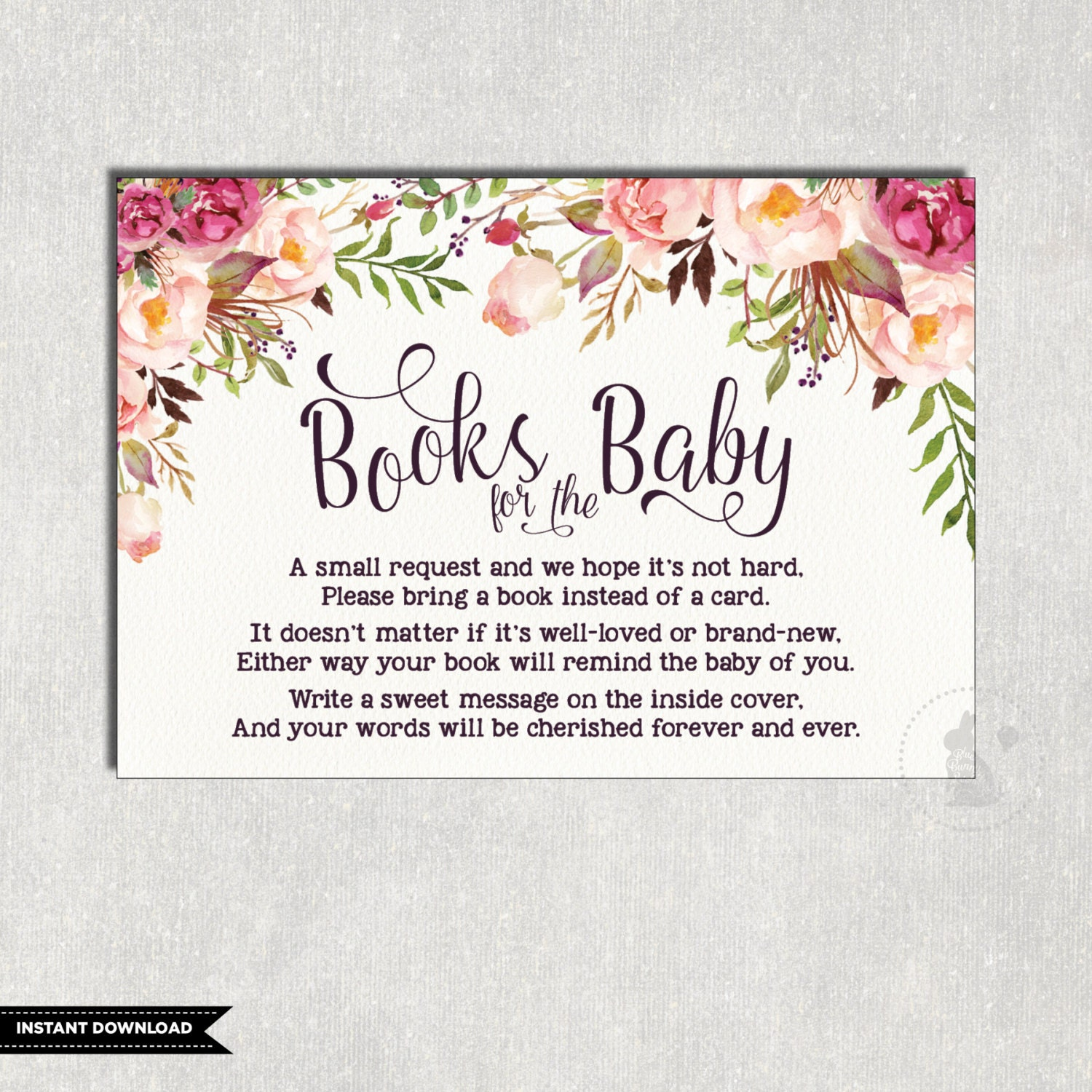 FLORAL Books for Baby Insert Card Flower Baby Shower