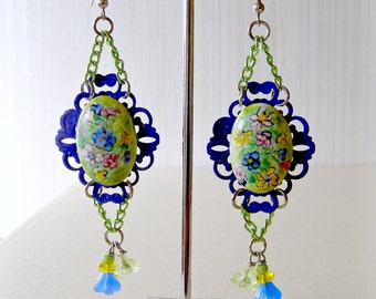 Earrings Hand-Painted Porcelain Cabs Czech Glass Blue and Green