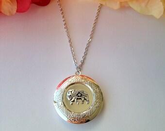 Silver Elephant Locket Necklace.