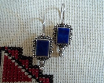 Vintage Sterling Silver and Lapis Lazuli Earrings