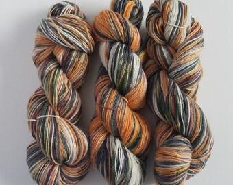 ALL HALLOWS' EVE- Hand Painted Glitter Lace/Light Sock Yarn- Hand Dyed Merino Silk Stellina- 438 yards
