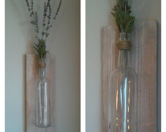 Rustic bottle Vase Wall Hanging flowers