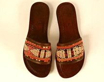 Moroccan Woven Sandals. Carpet Shoes. Kilim Sandals. Rug Sandals. Leather Sandals. Slip On Shoes. Ethnic Shoes. Southwest US 6.5 UK 4 EUR 37