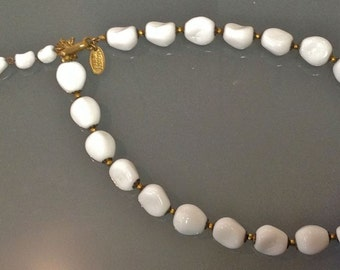 Vintage Mariam Haskell White Glass Bead Adjustable Necklace with Gold Tone Closure