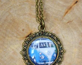 "Vintage necklace bronze ""Retro Bus"" 70cm"