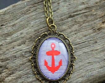 "Vintage necklace bronze ""Anchor red"" 70cm"