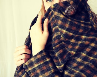 Vintage Brown and Black Plaid Wool Coat and matching Hat
