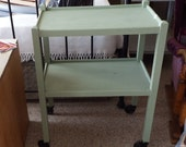 Upcycled Traditional Tea Trolley Hand painted (Chalk Paint Olive vert Green) 8