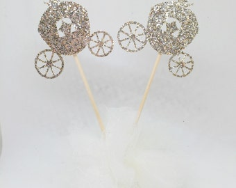 Gold Glitter Princess Carriage Cupcake Toppers - Birthday Party