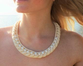 Wedding necklace statement necklace Knit necklace cotton necklace pearl necklace crochet necklace bridal necklace wedding jewelry women gift