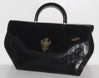 Vintage 80s black handbag ALESSANDRINI