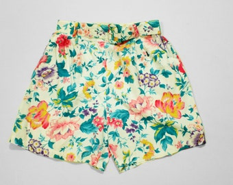 Floral High Waisted Shorts w/ Belt