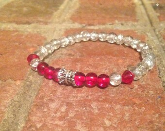 Red Glass Bead Bracelet, Stretch Bracelet, Stack Bracelet, Beaded Bracelet