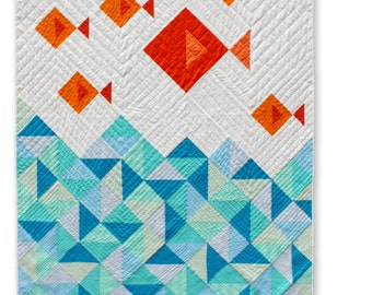 Fish Quilt. PDF pattern only. Modern Quilt. Kids Gift. Baby Gift. Quilt Pattern for beginners. Instant Download.