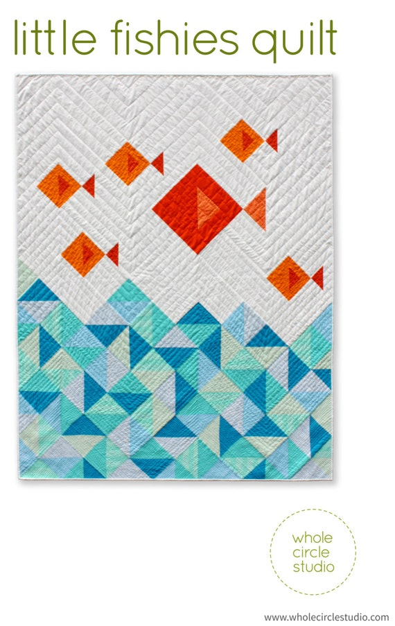 Modern Quilt Patterns Free Download : Fish Quilt. PDF pattern only. Modern Quilt. Kids Gift. Baby