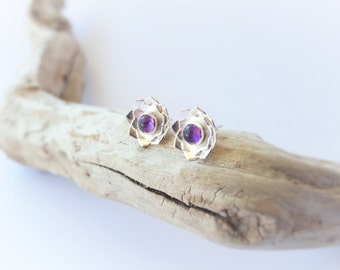 Amethyst Earrings Purple Earrings Amethyst Jewelry February Birthstone Gemstone Earrings Sterling Silver Earrings Amethyst Stud Earrings