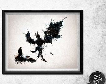 Skyrim inspired Dovahkiin and Alduin watercolour / watercolor art poster Print - 3 FOR 2