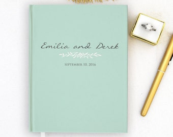 Wedding Guest Book Personalized Mint Guest Books Custom Guestbook Romantic Fall Wedding Gold Script Wedding - Mint