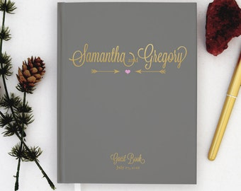 Real Gold Foil Wedding Guest Book Gold foil Guest Books Custom Guestbook Modern Wedding Script Wedding - gray