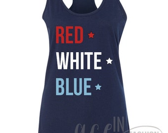 Fourth of July • Red White Blue • Tank Top • Racerback Tank Top • Sizes S-XL. In Midnight Navy
