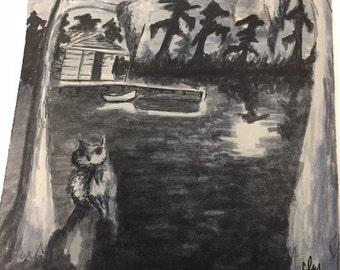 original artwork, bayou at night