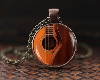 Guitar necklace, Acoustic Guitar Art Pendant, guitar jewelry, music necklace, music art pendant, Guitar player gift, Gift for musician