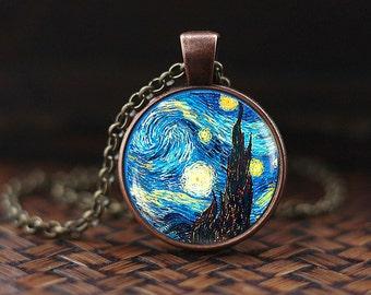 Van Gogh Starry Night pendant, Starry Night necklace,Van Gogh necklace,Van Gogh jewelry,Classic Art pendant, Van Gogh painting necklace,