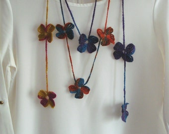 Handmade crochet flowers necklace, Crochet Lariat Scarf Necklace, Strand necklace, multi color scarf, hand knit scarf,crochet scarf