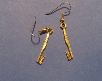 Dentist Toothbrush Earrings Dental Care Hygienist 24 Karat Gold Plate EG353 / ES329