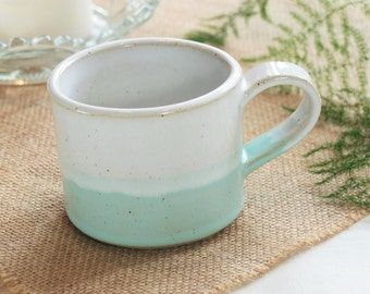 Handmade ceramic mug, pottery mug, two tone mint green and white glaze, coffee or tea mug, handmade gift, housewarming gift, kitchen, dining