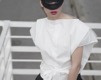 White Top, Japanese Top, Short Top, Loose Shirt, Elegant Top, Boho Top, Suit Shirt, Cotton Top, Extravagant Top, Elegant Top, Office Top