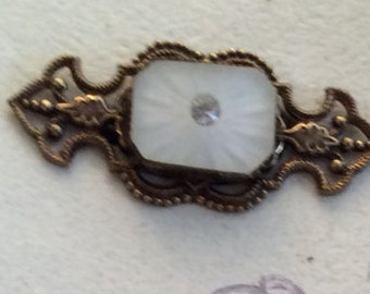 Frosted Glass and Crystal Vicorian Brooch