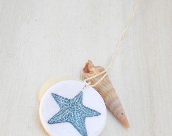 Starfish necklace, starfish pendant, sea star necklace, beach necklace, nautical necklace, blue starfish, seashore pendant, sea star pendant