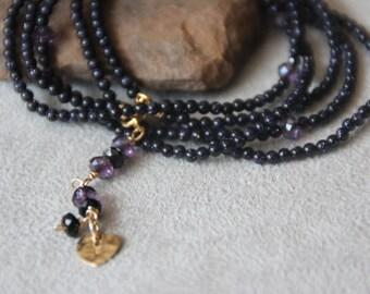2mm Deep dark blue Aventurine gemstone wrap Bracelet. GoldStone bracelet. Handmade bracelet. Wrap bracelet. Dainty necklace. Gift for her