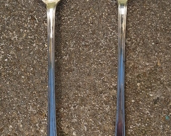 Vintage Silver Plated Serving Fork and Spoon with Fruit Pattern Sheffield, England