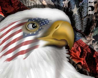 American Flag Eagle Camo (2) LAMINATED Cornhole Wrap Bag Toss Decal Baggo Skin Sticker Wraps