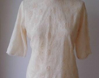 1960s/70s lace blouse size 12-14