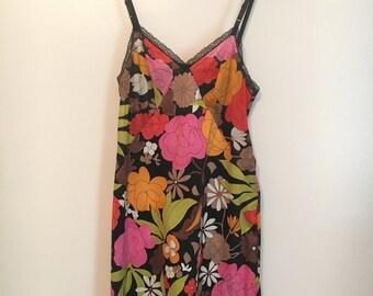 Vintage 60's Floral Vanity Fair Nylon Slip black lace Mod mini dress S