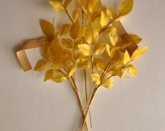 Vintage Millinery. GOLDEN LEAVES. Satin hat trim. 1940s - millinery leaves - vintage leaves - satin leaves -
