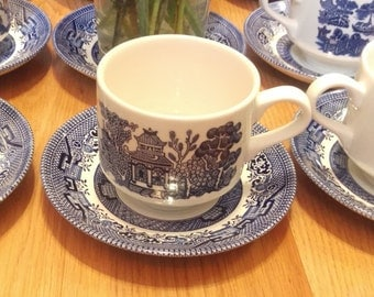 Blue Willow Transferware Tea Cups and Saucers, White Willow, Fine China, bridal tea, wedding teacups, afternoon tea, blue and white tea cups