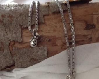 Money Bag Charm Necklace, Silver Necklace, Silver Money Bag Charm