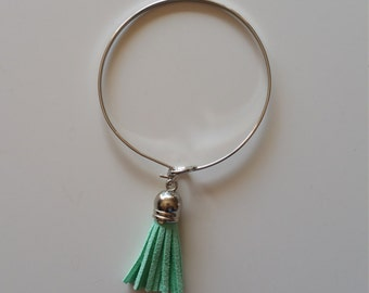 Mint Suede Tassel Bracelet