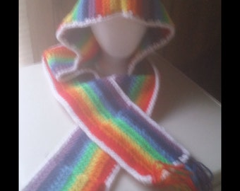 Rainbow hood+scarf with pockets