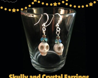 Blue Skully Earrings | Handmade Skull and Crystal Bead Earrings
