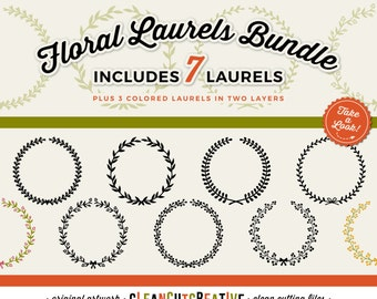 7 svg FLORAL LAUREL SVG laurel svg wreath svg monogram svg frame svg leaf wreath svg floral svg circle svg - Studio3 dxf Cricut & Silhouette