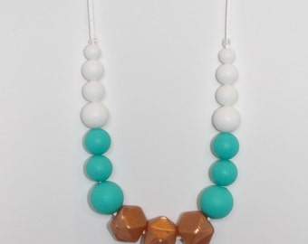 Silicone Teething Necklace, Rose Gold Hexagon with Turquoise and White bead accents, Nursing Necklace, Breastfeeding Necklace, Bite Beads