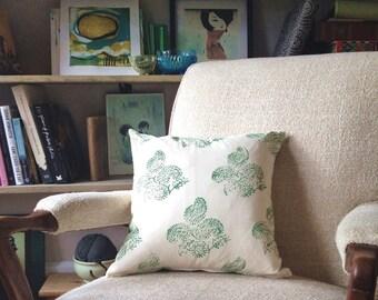 Block Print Pillow Cover, 15x15 Green Leaf Paisley Block Print on Natural Muslin, OOAK