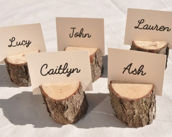 20 Wood Place Card Holders, rustic place card holders with bark for rustic wedding, Wood place name holders, wedding seating card holders