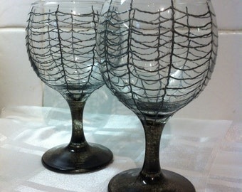 Gothic Black Spiders Web Hand Painted Wine Glasses